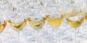glass drink white wine on buffet outdoor party