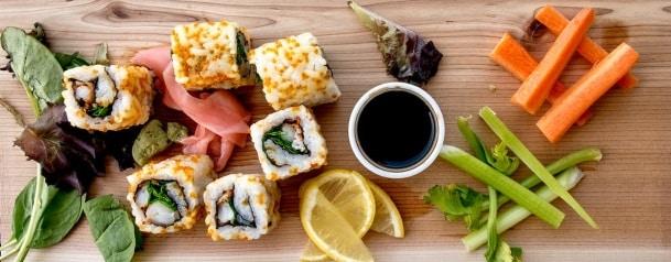 japansk sushi sett uppifrån