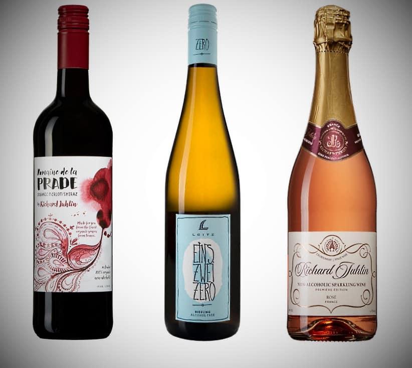 alkoholfritt på bild vitt rött och mousserande vin