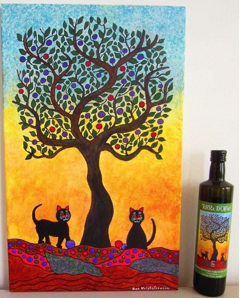 vinetikett: tavla som blivit en etikett för olivolja