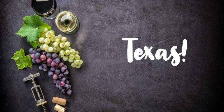 Texas vinglas och flaska och Texas flagga