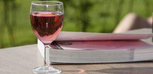 boktips ett glas rosé och en bok i solen