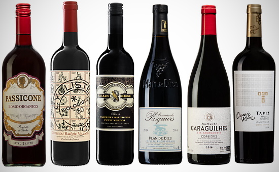 ekologiska viner - alla 6 vinerna som provas