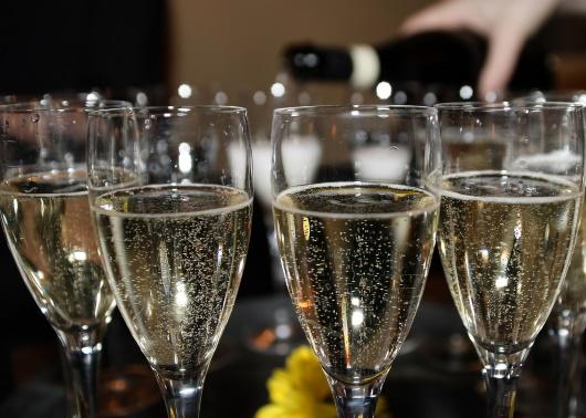 Champagne: flöjtglas