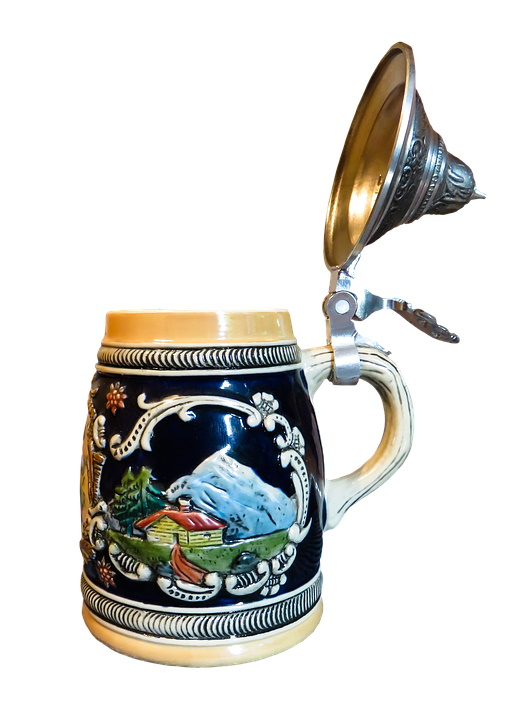 Zickelbier - en gammal läckert målad keramik sejdel