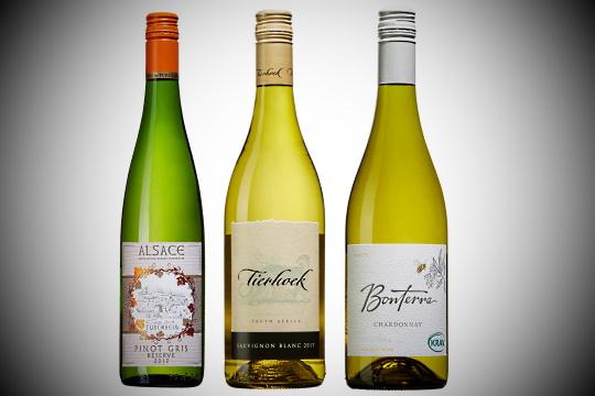 Kräftskiva - bild på tre viner som beskrivs