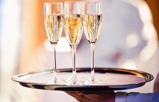Bubbel - brucka med champagneglas
