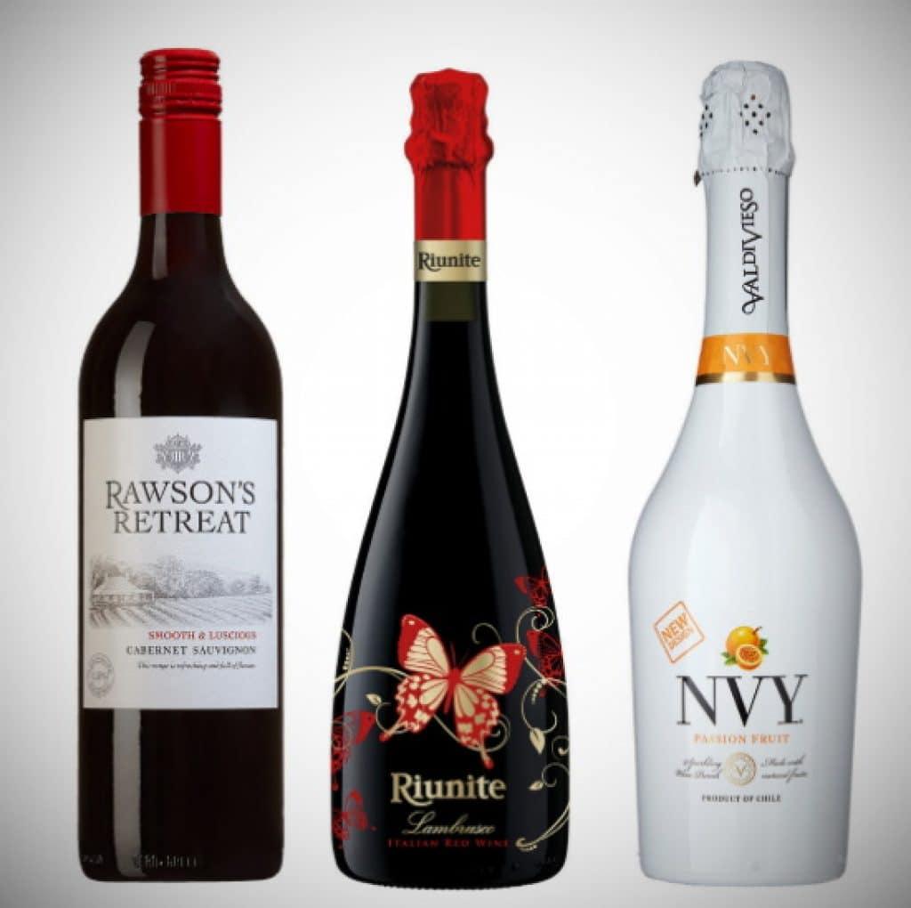 lågalkoholviner - tre flaskor