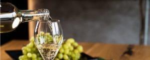 mousserande viner - ett glas med druvor
