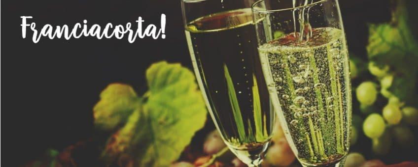 franciacorta - omslagsbild med 2 glas och lite druvor