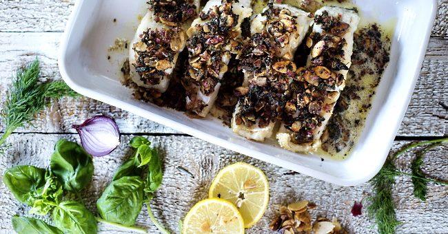 Sauvignon Blanc Te Mata Estate - fiskrätt med mandeltäcke