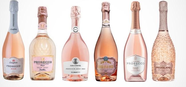 Rosa Prosecco en parad av flaskor
