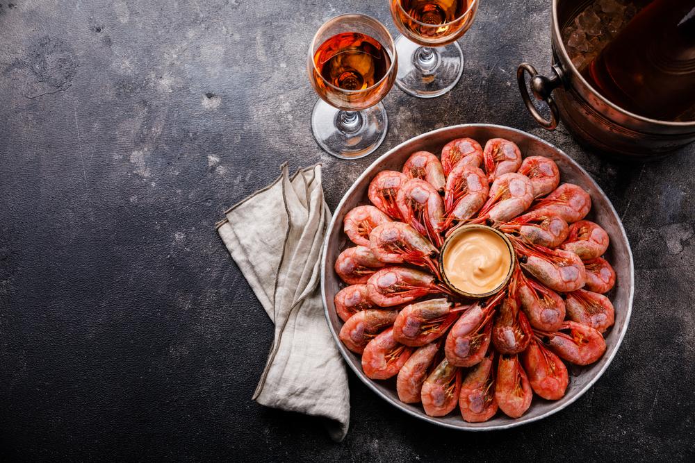 Rose vin med skaldjur