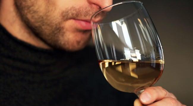 aromer i vin - en man doftar på ett vinglas