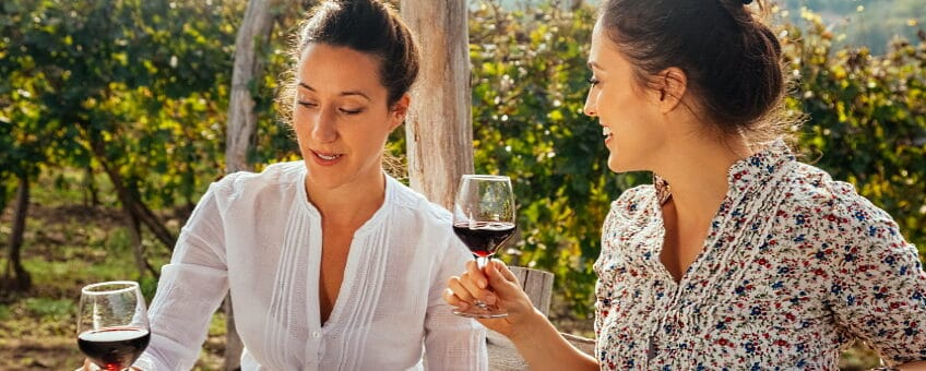 eleganta viner - två kvinnor på uteplatsen dricker vin