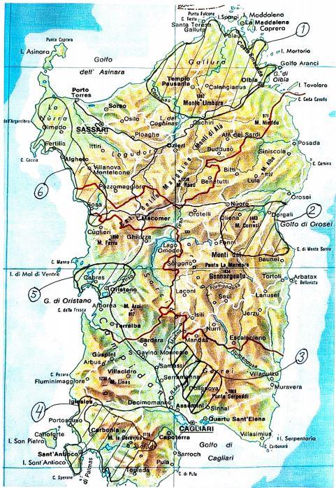 Sardinien - karta över vinområden