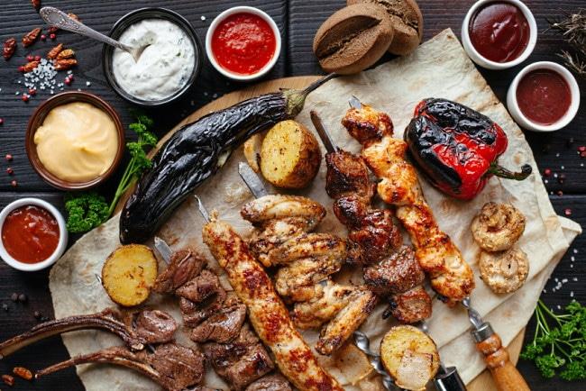 grillspecial olika grillad mat grönsaker