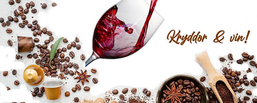 Kryddor och vin - vinglas med olika kryddor